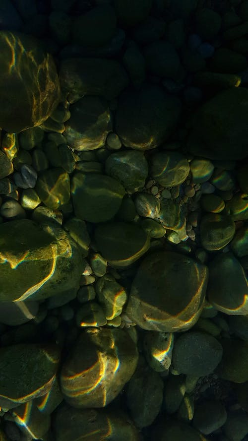 Free stock photo of bed of rocks, green, green water