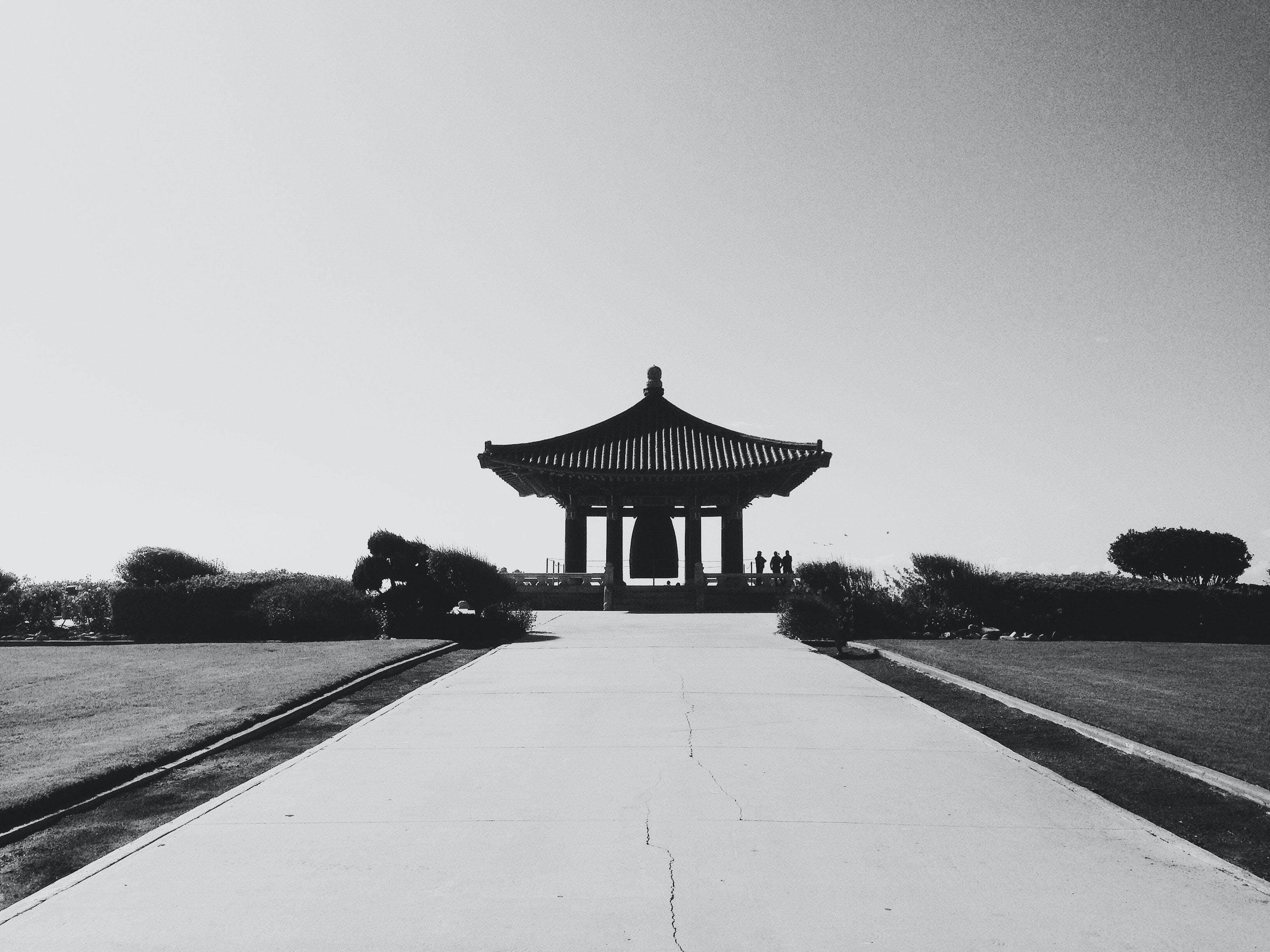 Grayscale Photography of Pagoda Temple
