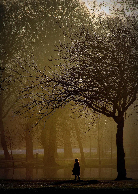 Brown Photo of Girl Standing Near Tree