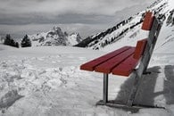 cold, snow, bench