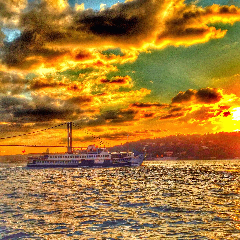 Free stock photo of bridge, sailing ship, sunset