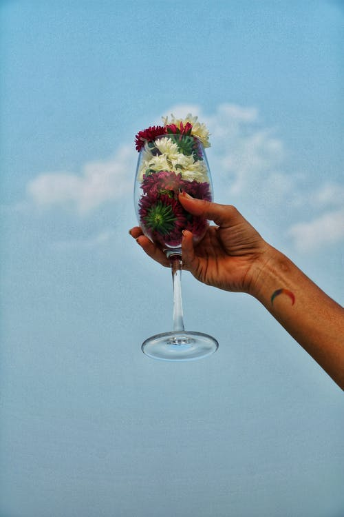 Person Holding Clear Glass With Strawberry and Strawberry