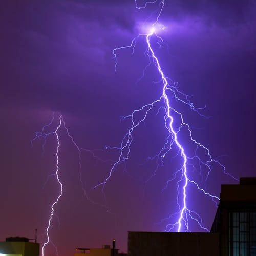 Thunder Striking a Building Photo