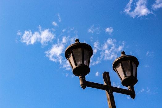 White and Black 2-head Post Light