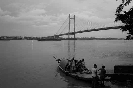 Free stock photo of sky, people, water, bridge