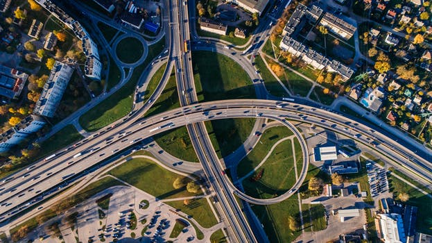 Aerial photo of building and an artery of roads to signify web traffic