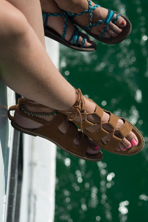 Free stock photo of boat, feet, hang over, sandals