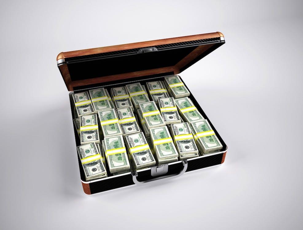 aktovka, bohatství, dolary
