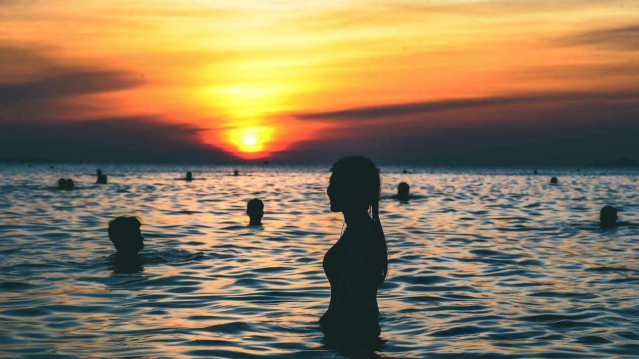 avslapping, bakbelysning, bølger