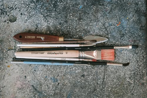 An Artist Tools Used in Painting