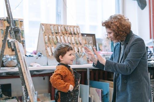 A teacher and a kid