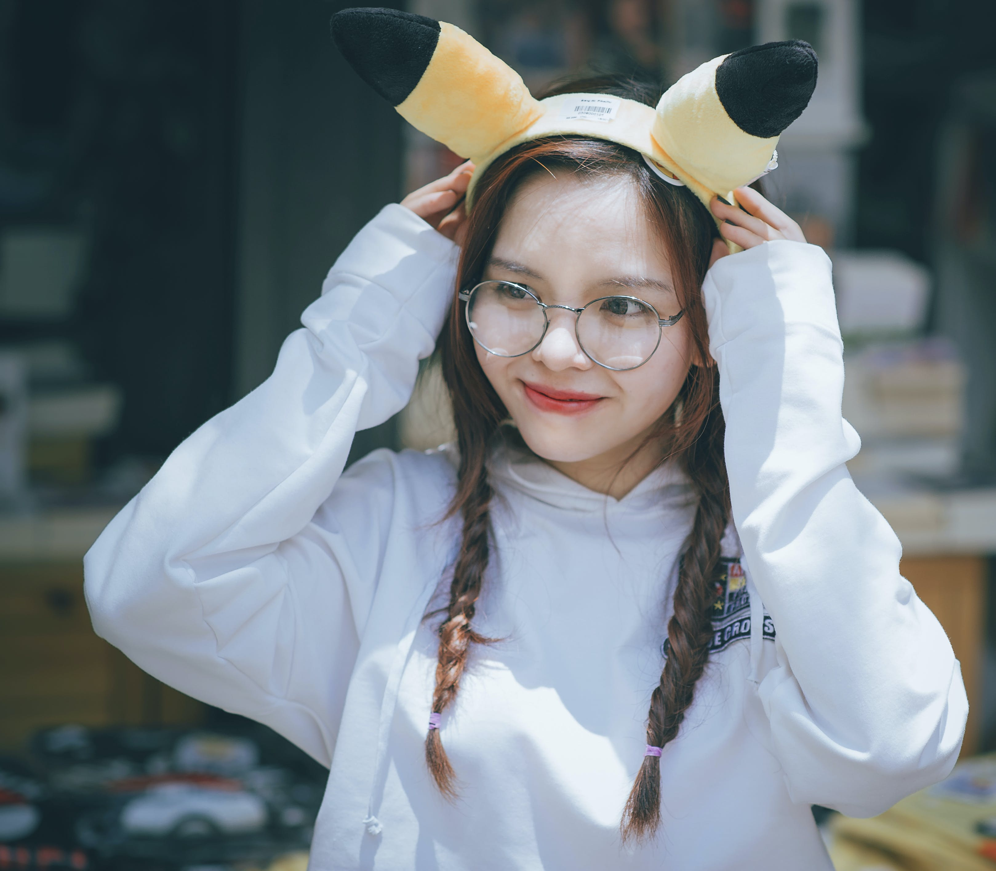 Woman Wearing Pikachu Alice Band