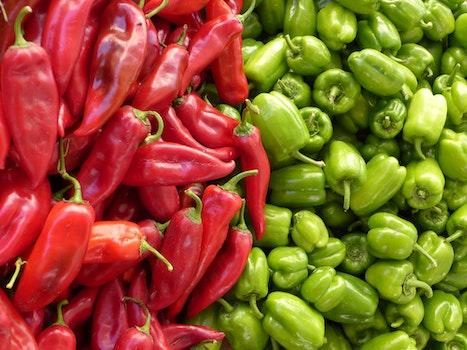 Red Chili Pepper Near Green Chili Pepper