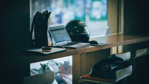 Gray Laptop Near Black Full-face Helmet