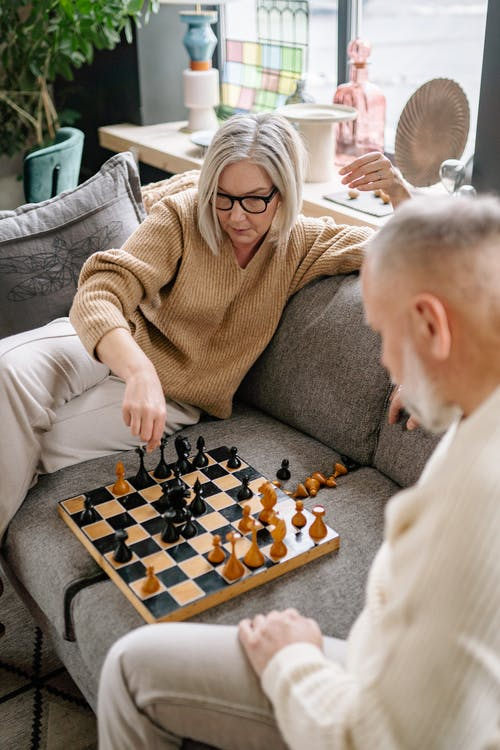 Woman in Brown Sweater Playing Chess