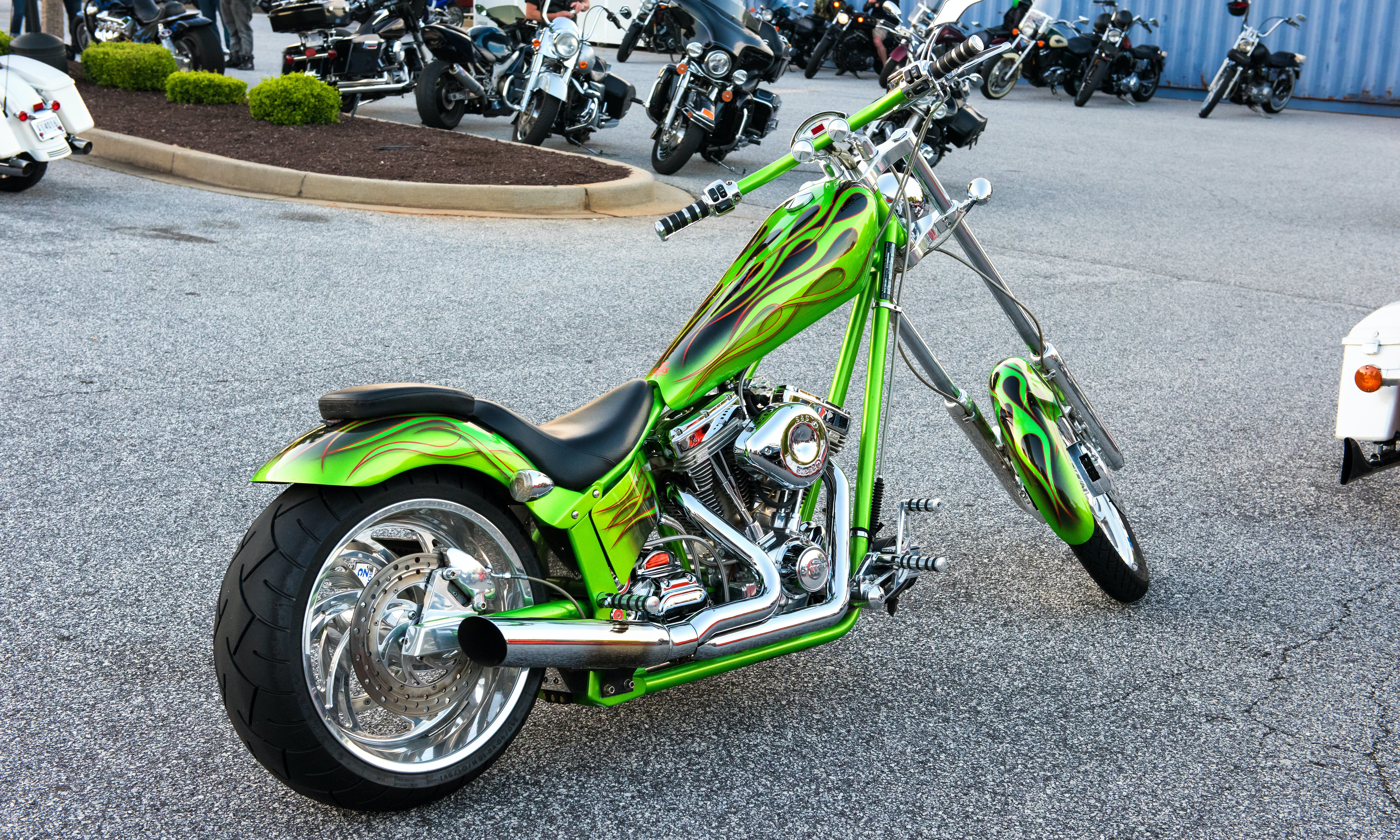 Green Naked Chopper Motorcycle on Parking Lot