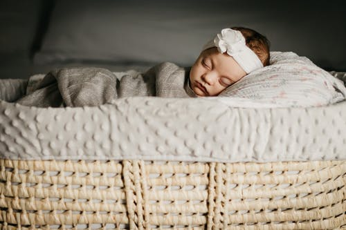 Free stock photo of baby, basket, bed