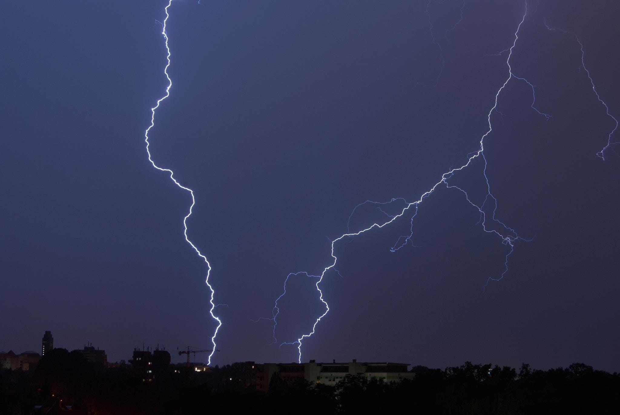 Lightning Bolt Hitting on the Ground