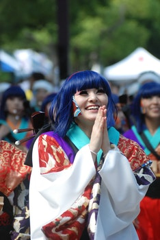 Woman in Blue Hair Wearing Costume during Daytime