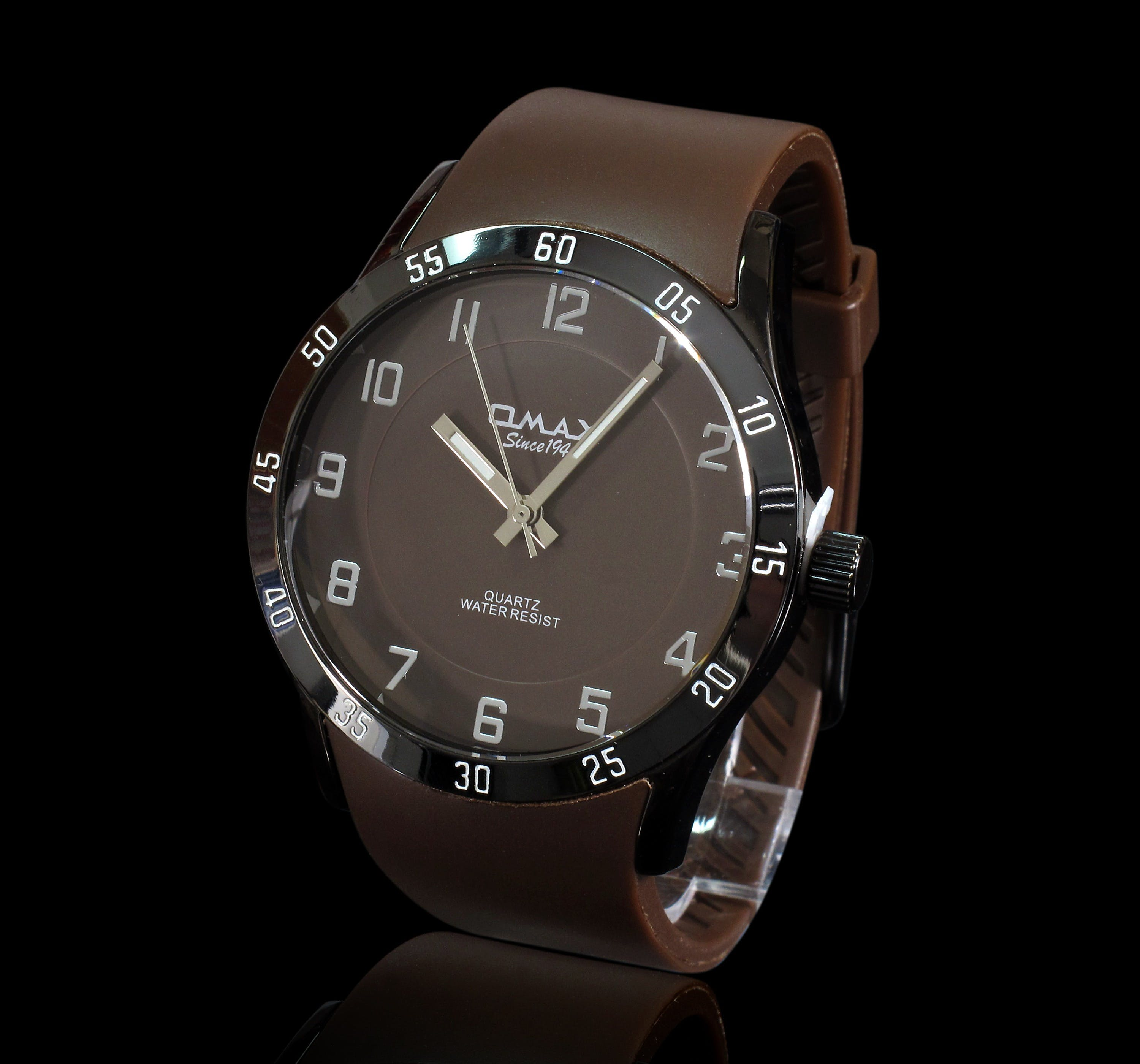 Brown Leather Strap Omax Analog Watch