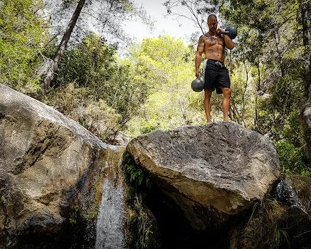 Free stock photo of rocks, waterfall, kettlebell, kettlebells