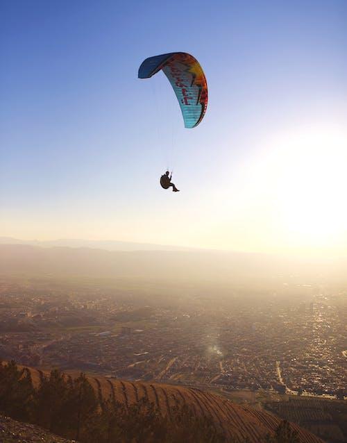 Free stock photo of blue sky, iraq, parachute