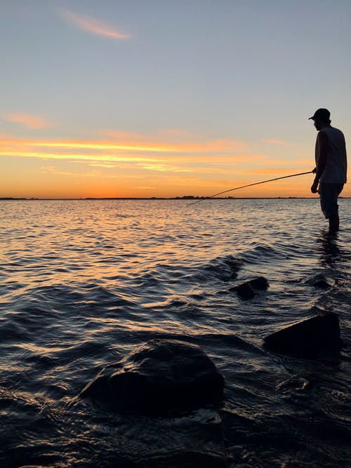 Free stock photo of 1 man, 1 person, beach sunset