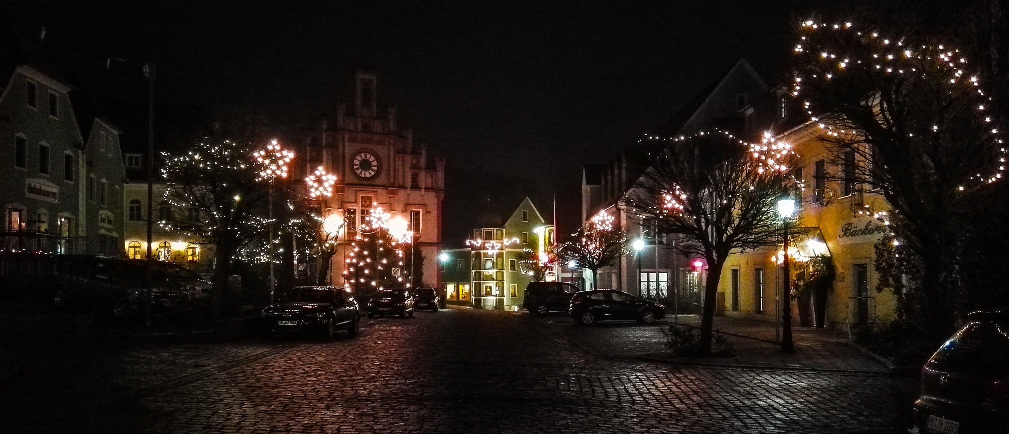 Free stock photo of christmas, lights, night, street