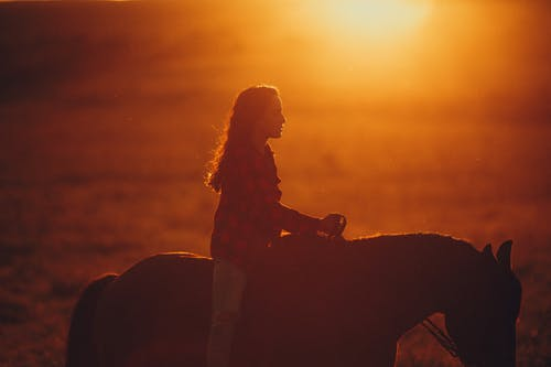 Young woman with long wavy hair riding horse