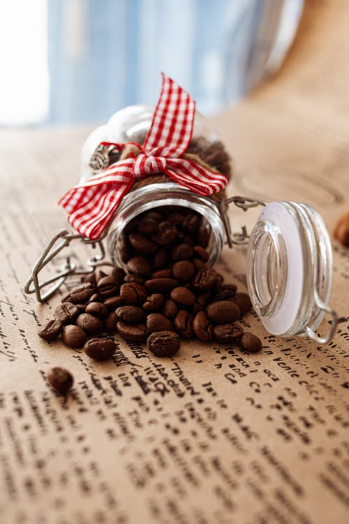 Coffee Beans Out of a Mason Jar