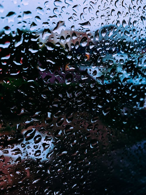 Background of raindrops on glass window