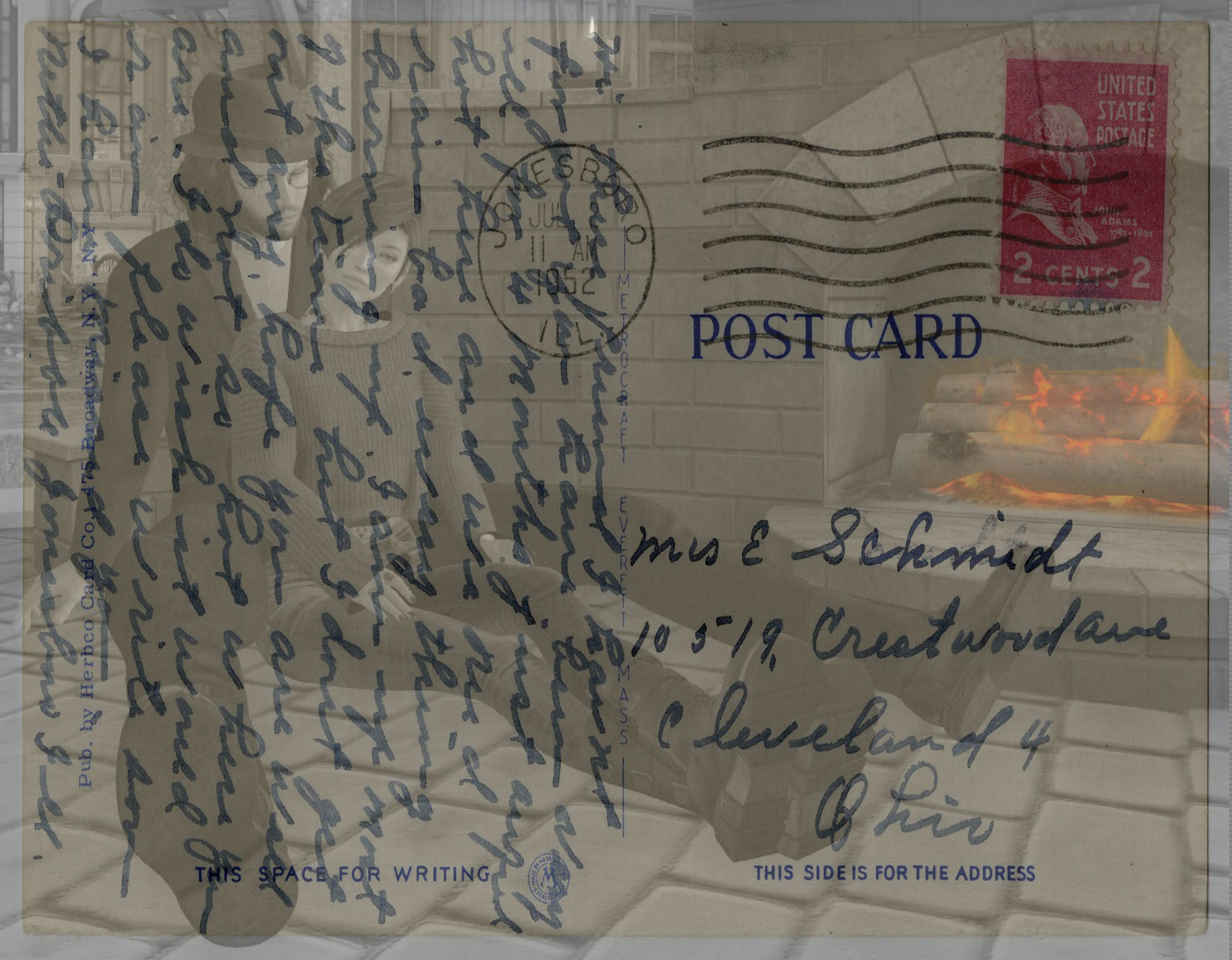 Kostenloses Stock Foto zu paar, kamin, postkarte