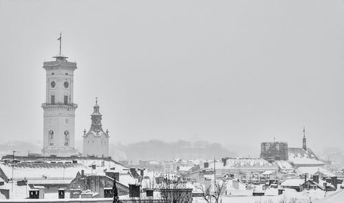 Grayscale Photo of a Town