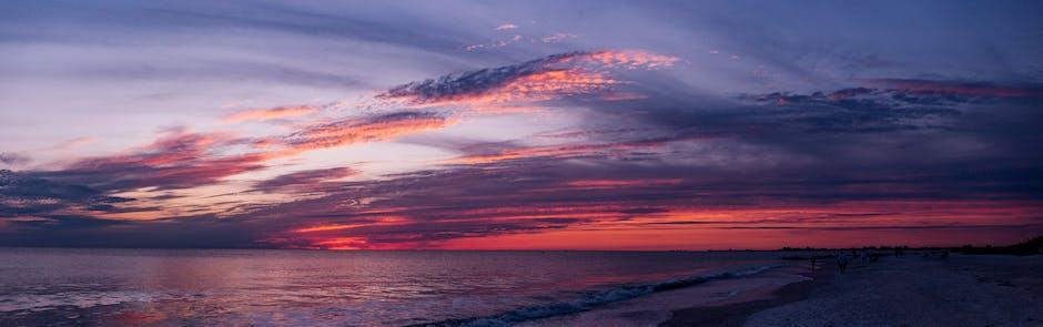 Sunset beach ocean panorama