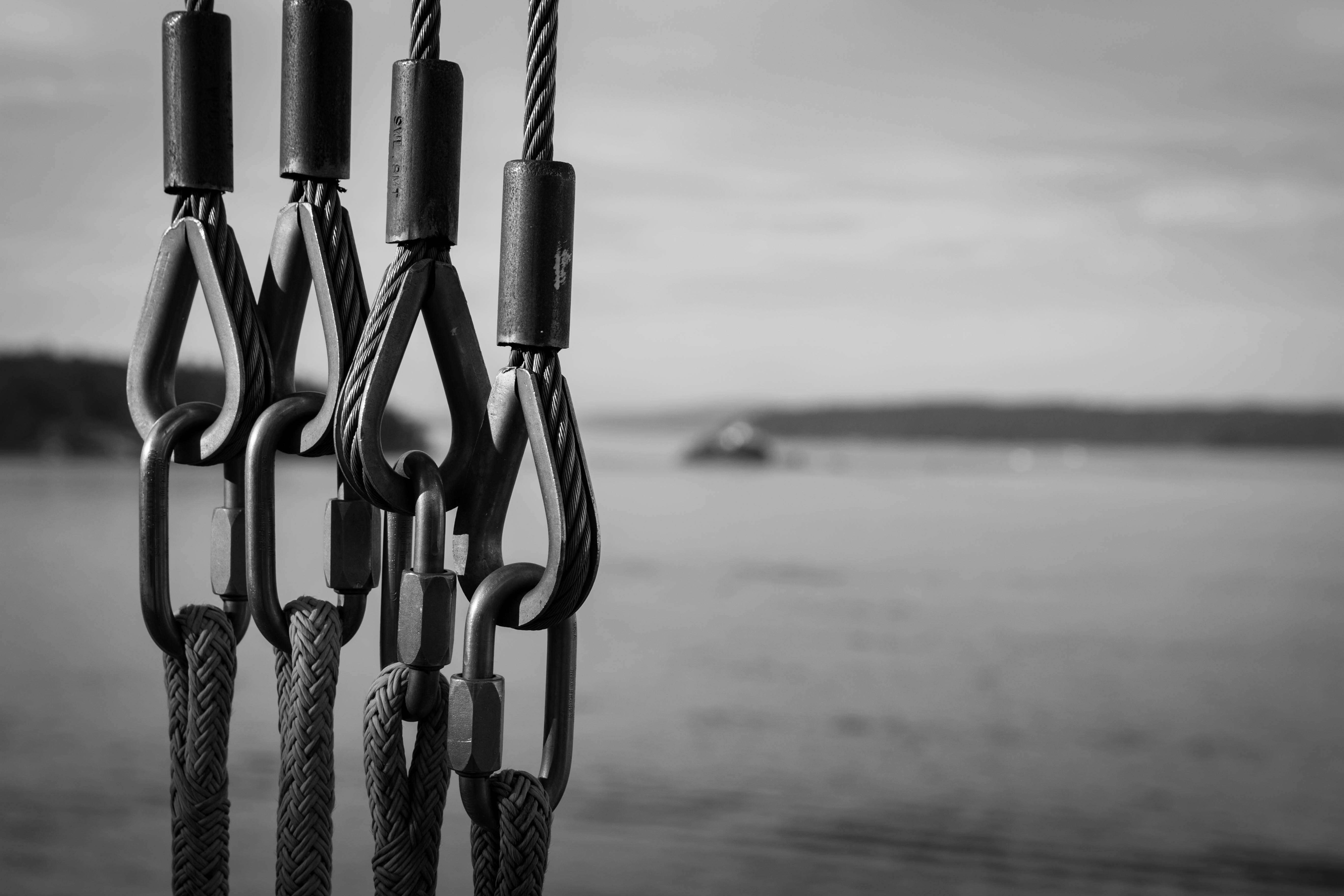 Black and White Photography of Chains