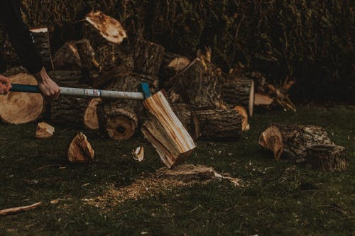 Unrecognizable male worker chopping firewood with ax on grassy lawn near pile of fried logs in suburb area of countryside