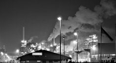 black-and-white, lights, industry