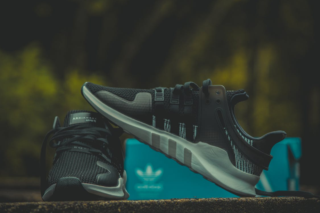 Pair of Black-and-gray Adidas Low Top Sneakers With Box