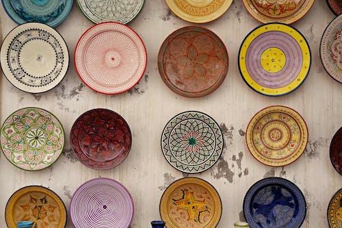 Close-Up Shot of Decorative Plates