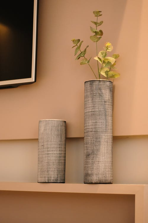 Creative minimalist vases with fresh green leaves arranged on shelf near wall with modern TV in stylish apartment