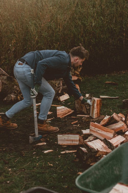 Man with axe and firewood in countryside