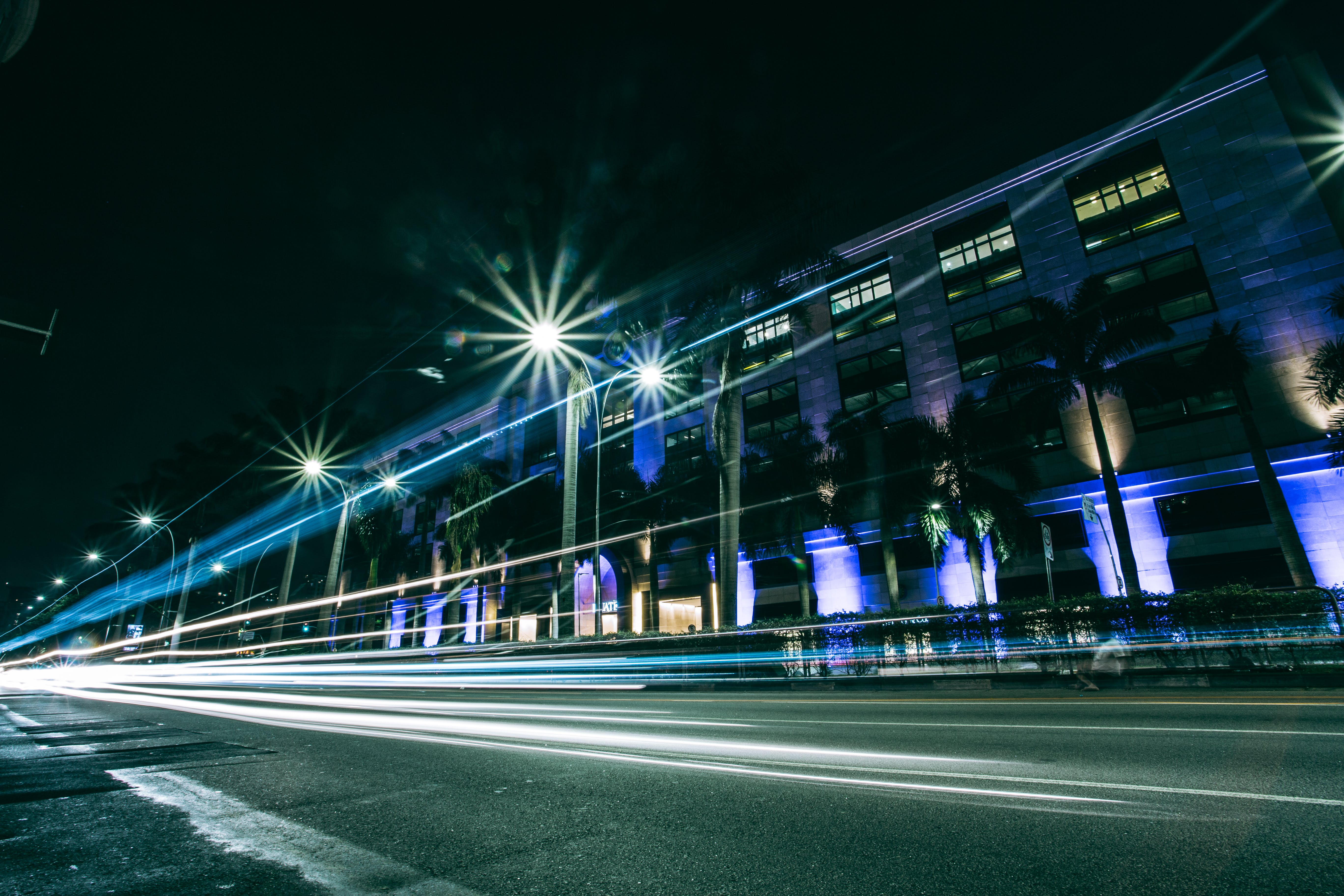 Time-lapse Photography of Road at Night