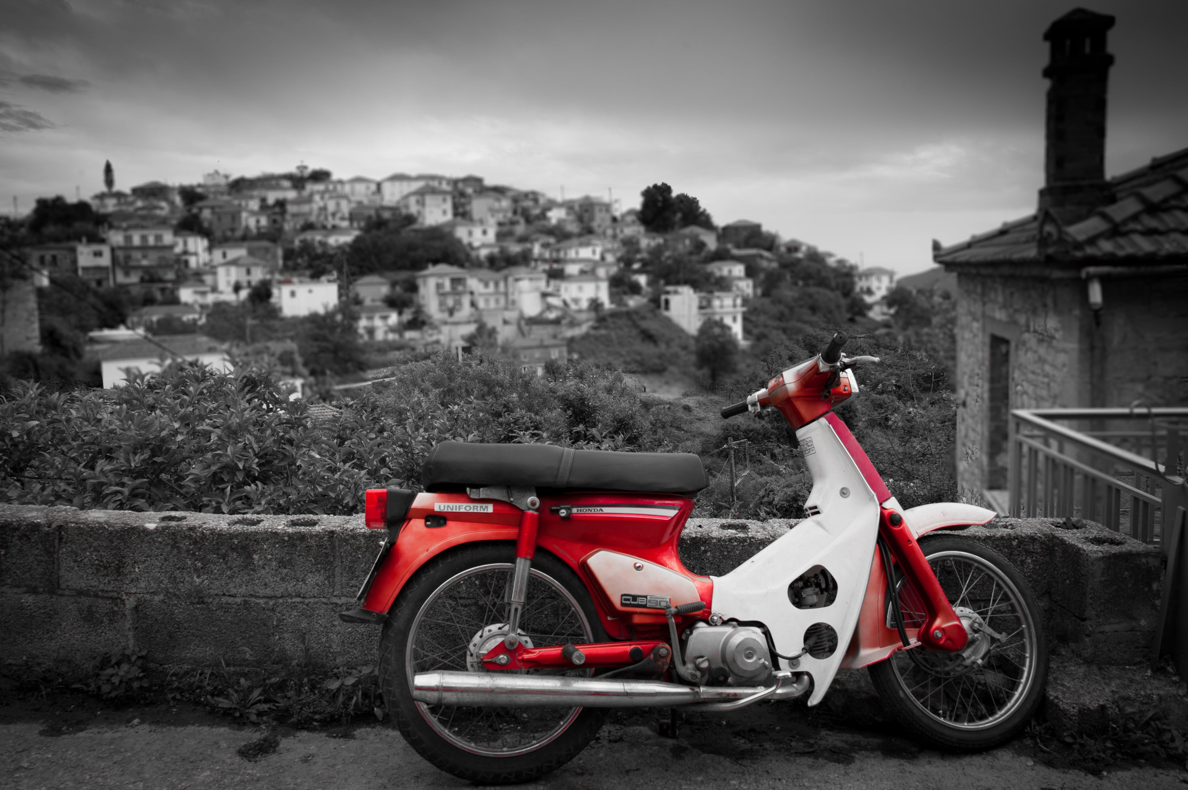 White and Red Motorcycle