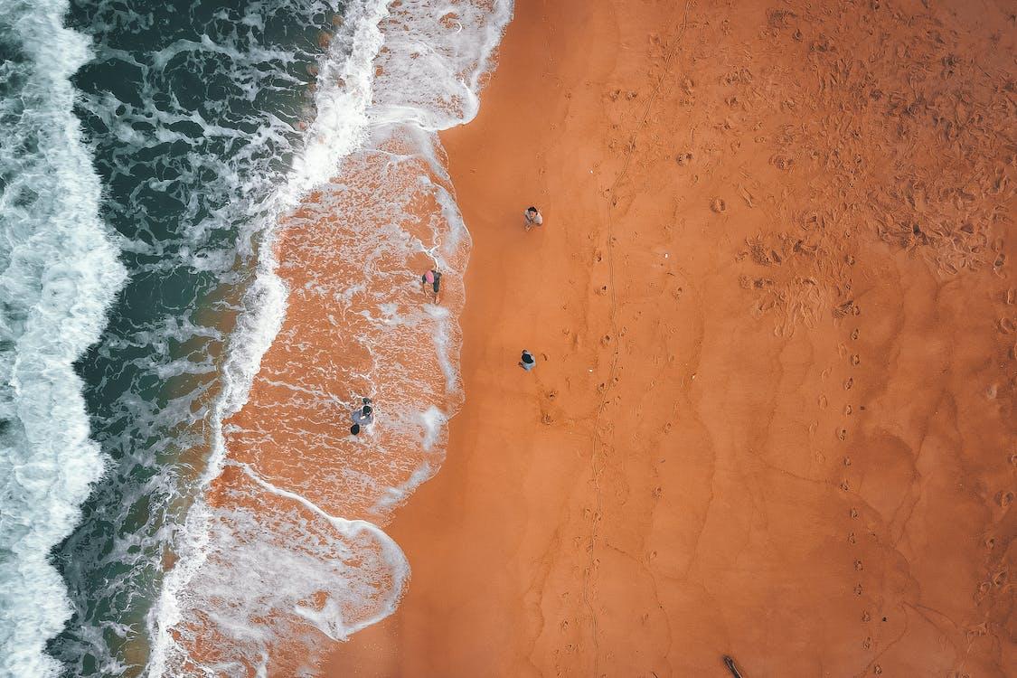 Anonymous travelers walking along sandy seashore