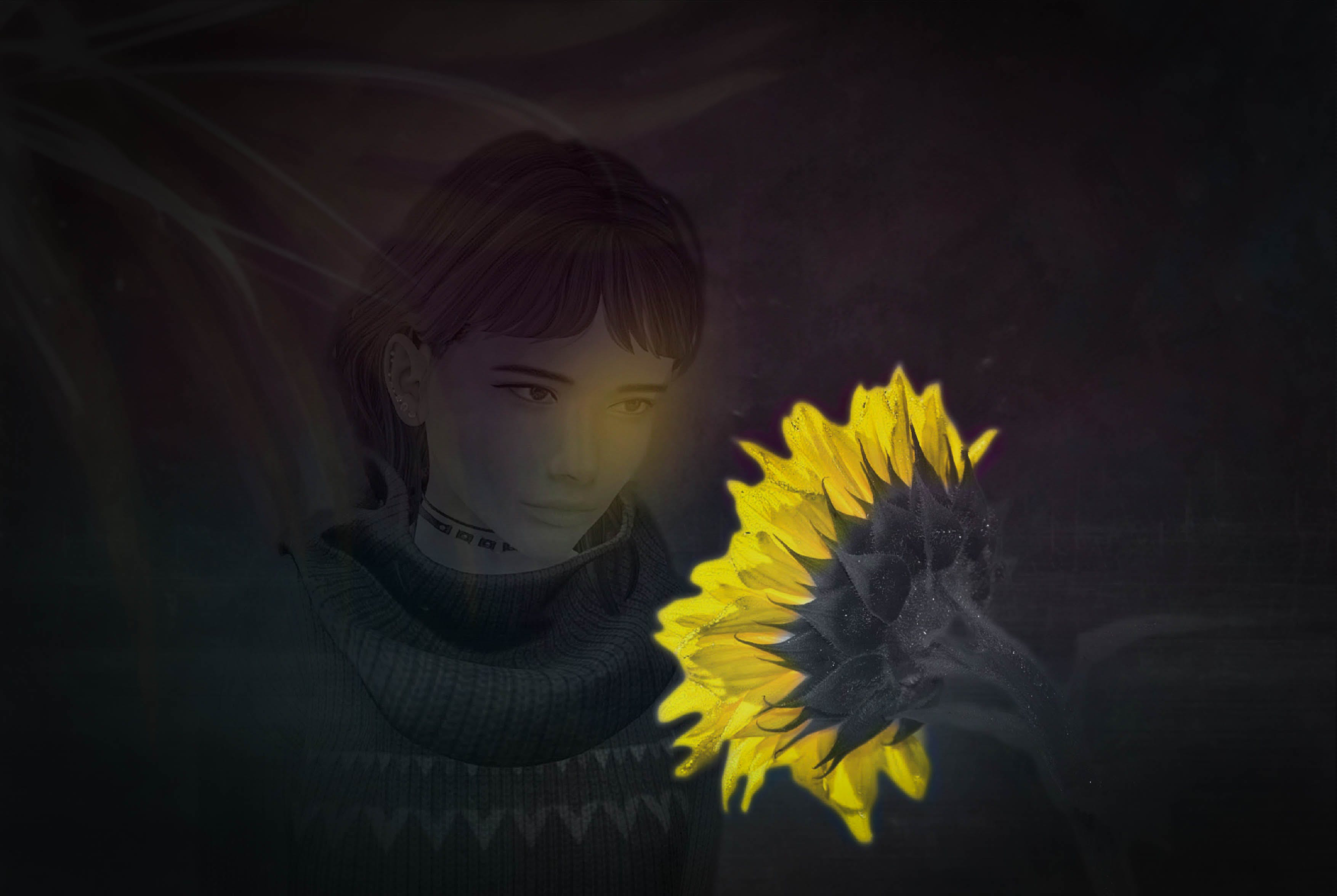 black and white, sunflower, woman