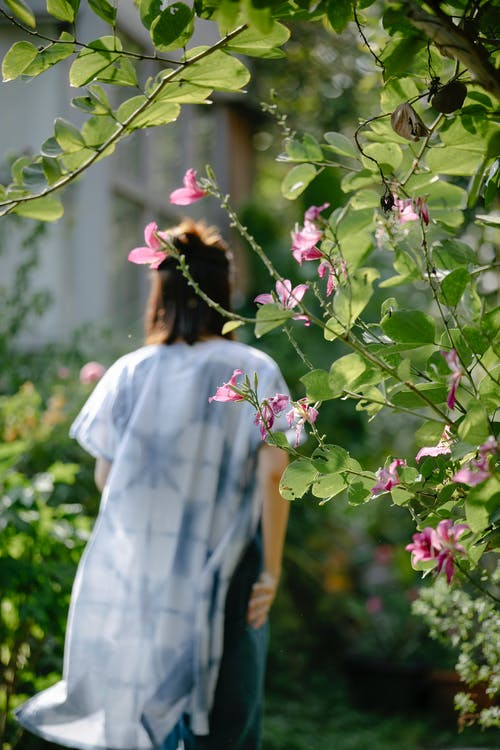Woman in garden with blooming bushes