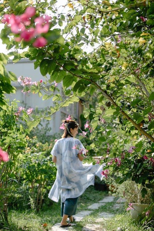 Woman walking between plants in garden
