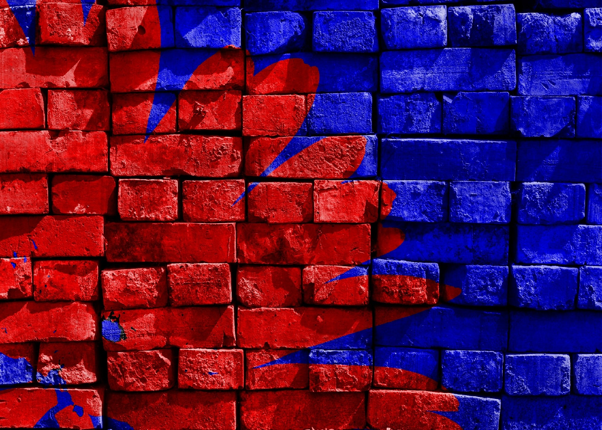 blue and red brick filled free stock photo
