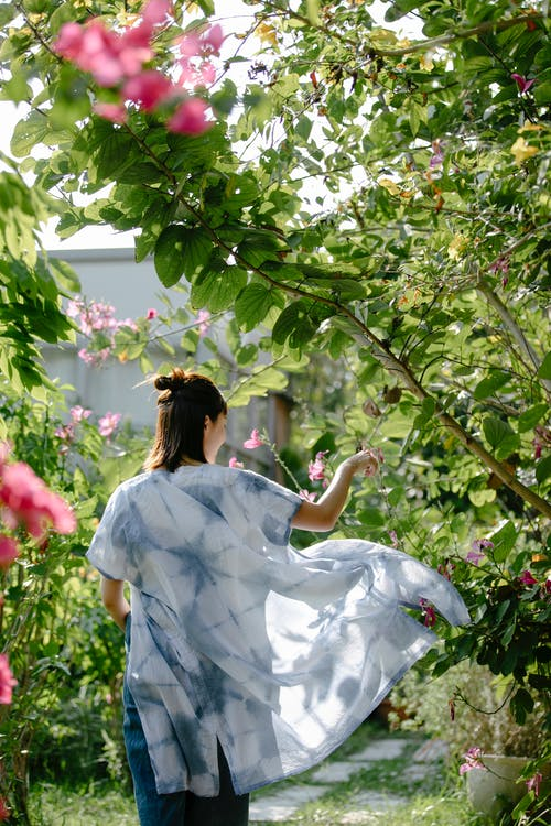 Back view of anonymous female artisan in clothes with indigo ornament among blooming plants in sunlight