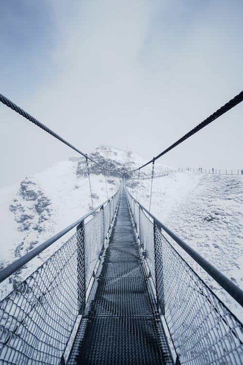 Black Metal Bridge over Snow Covered Ground